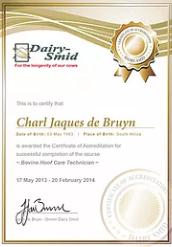 Charl Jaques de Bruyn DairySmid Cert